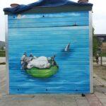 Basisschool de Scherpshoekmuurschildering buiten op de Schepershoek hier is geschilderd op een schuur op hout met verf op aclyd basis
