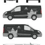 ontwerp op een bus van Hoveniersbedrijf Loek barte