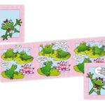 Strip van geboortekaartje gemaakt gevouwen toto 10x10cm met extra inlegvelletje voor kraamfeest.