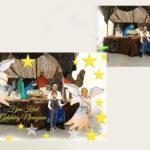 In de kerk kinderen met kerststal op de foto en hier een kerstkaart van gemaakt zie voor en na!