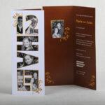 Jubileumkaart 12,5 jarig formaat 8 x 21 cm 12,5 is koperen huwelijk vandaar het bruin /oranje dansje om de foto's