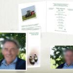 Rouwkaart met foto gevouwen A5 formaat voorzijde korter gesneden zodat klompen zichtbaar werden.. Bijpassend bedanktkaartje op A6