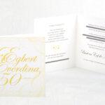 50 jarig huwelijk jubileum kaart 13x13 cm gevouwen gedrukt op parelmoerpapier hierdoor een lichte sprankeling