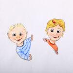 tekening voor geboortekaartje voor het kaartje zie link grafische vormgeving!