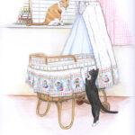 Voor een geboortekaartje deze tekening gemaakt in kleurpotlood en aquarel.