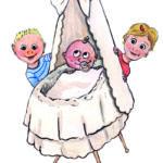 Voor een geboortekaartje deze tekening gemaakt op A4 tekenpapier met aquarelpotlood