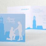 Kaart 13x13 cm Ten huwelijk gevraagd bij de Dom in Utrecht. Dus Utrecht is wel heel speciaal. Skyline Utrecht getekend.