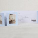 Een tweelingkaartje, de wiegjes thuis gefotografeerd!