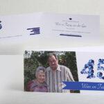 Jubileumkaart 45 jarig huwelijk 21 x 9,8 cm gevouwen. Wist u dat 45 jaar een saffieren huwelijk is? vandaar de blauwe saffieren erop! De foto heb ik op locatie gemaakt!